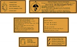 Porsche 1974 911T 911S Carrera Engine Warning Decals