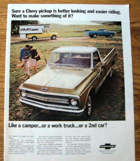 1969 Chevy Chevrolet Pickup Trucks Ad Camper Work