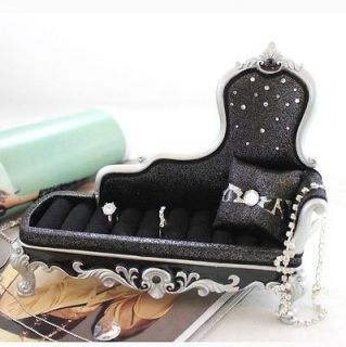Chaise Lounge Chair Ring Holder Black Metallic Leopard Print Animal