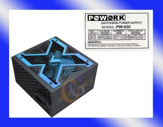 PoWork Silent 650W Max ATX Power Supply w/12cm Fan, 20/24Pin, SATA NEW
