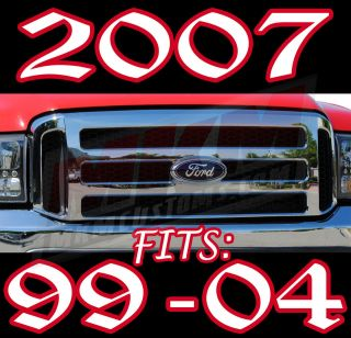 2005 2006 2007 F250 F350 FORD CHROME GRILLE CONVERSION FITS 1999 2004