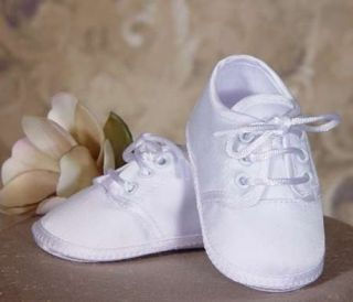 Boys White Christening Baptism Shoes Booties Satin NB 6wks 3m 6m 12m