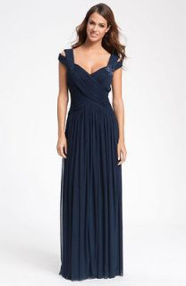 JS Collections NAVY BLUE Bead Embellished, Crisscross Bodice Mesh Gown