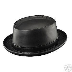 Mens Henschel Leather Pork Pie Hat   Medium   Black