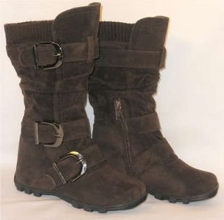 Kids Tall 3 Buckle Suede Flat Boots*Warm Knit Top BROWN TODDLER/YOUTH