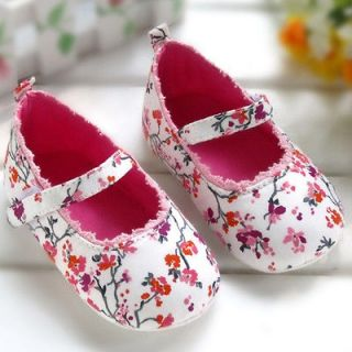 Mary Jane Floral Print Baby Girl Toddler Soft Sole Shoes Size 6 12 M