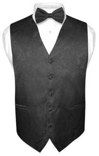 Mens Black Paisley Design Dress Vest and BOWTie Set for Suit or