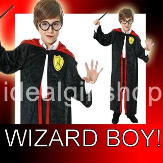 Childs Halloween Wizard Boy Robe Velour Black Cape Red Lined Hood