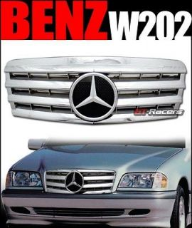 CHROME SL STYLE FRONT HOOD BUMPER GRILL GRILLE 1995 2000 MERCEDES W202