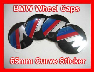 4x BMW ///M Wheel Center Cap Sticker 65mm (Curve)