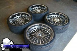AF 122 ALL CHROME STAGGERED WHEELS RIMS TIRES BMW 7 SERIES 745 750
