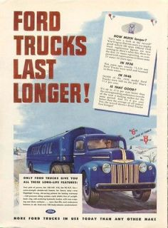 Ford semi oil tanker truck long life features ad 1947