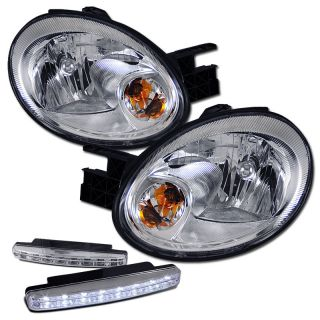2003 2005 DODGE NEON SRT 4 CRYSTAL CHROME HEADLIGHTS + DRL LED FOG