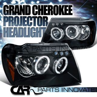 JEEP GRAND CHEROKEE BLACK LED HALO PROJECTOR HEADLIGHTS (Fits Grand