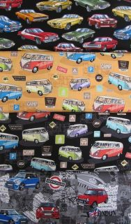 VW Camper Van, Mini Cooper & Classic American Cars 100% Cotton Fabric
