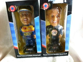 NASCAR RUSTY WALLACE AND JEFF GREEN BOBBLE HEADS NIB 2001, ANIMATED