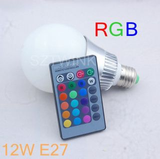 12W E27 16 Color Change RGB LED Light Bulb Lamp 85 265V+IR Remote