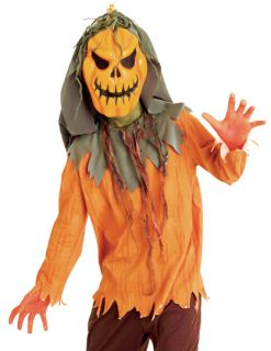 Kids Boys Scary Pumpkin Scarecrow Halloween Costume Large