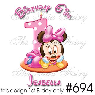 mouse birthday girl baby shirt personalized name first 1st 6 12 18 m