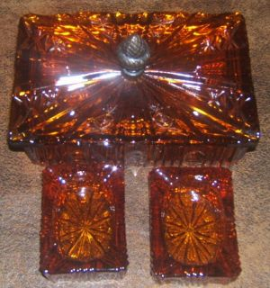 Antique Depression Amber Crystal Glass Ashtray & Cigarette Holder Box