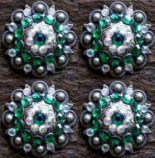 BERRY CRYSTALS BLING CONCHOS HORSE SADDLE HEADSTALL GREEN AB TACK