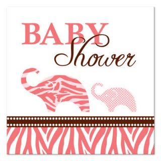 16 Wild Safari Pink Zebra Baby Shower Beverage Napkins