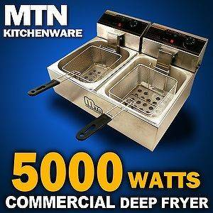 5000W Commercial Countertop Restaurant Electric Deep Fryer Double Tank
