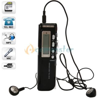 LCD Display 8GB USB Digital Activated Audio Voice Recorder Dictaphone