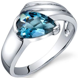 Pear Shape 1.50 cts London Blue Topaz Ring Sterling Silver Sizes 5 to