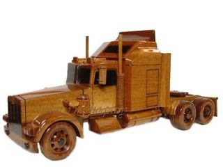 SEMI TRACTOR TRAILER TRUCK WOODEN WOOD MAHOGANY DESK DISPLAY MODEL NEW