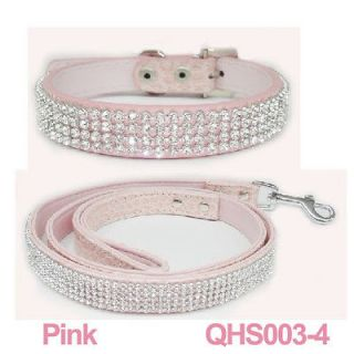 Rhinestone Crystal Jeweled PU Leather Pet Cat Dog Collar + Leash Set