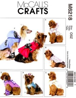 McCalls Pattern M6218 Dog clothes Vest Coat Dress Jacket Hoodie