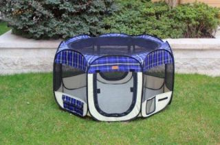 Small Blue Plaid Pet Dog Cat Tent Playpen Exercise Play Pen Soft Crate