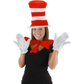 DR. SEUSS CAT IN THE HAT ADULT COSTUME KIT HAT BOW TIE WHITE GLOVES