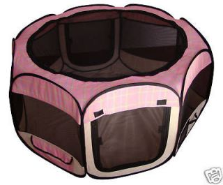 Pink Grid Pet Dog Cat Tent Puppy Playpen Exercise Pen S