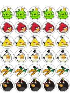 30 Angry Birds Edible cupcake toppers (rice paper)