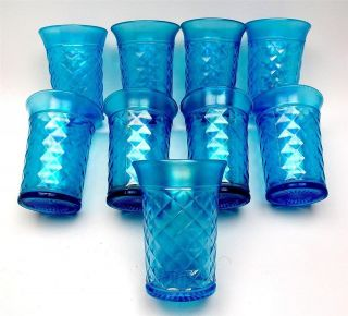 CONCAVE DIAMONDS by NORTHWOOD ~ CELESTE BLUE CARNIVAL GLASS TUMBLER