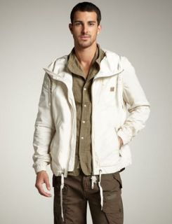 DIESEL BRAND MENS LEATHER TRIM HOODED JACKET IVORY WHITE JAYLINTER