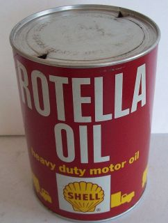 SHELL Rotella 1 Quart Motor Oil Can  Van Truck  Bus Gas Station