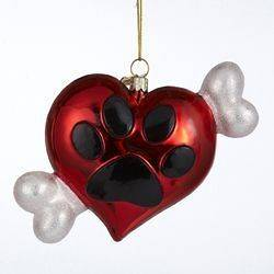 Kurt Adler Noble Gems Glass Heart with Paw Print and Dog Bone Ornament