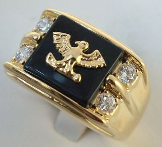 AMERICAN EAGLE black onyx mens ring 14K gold overlay size 10