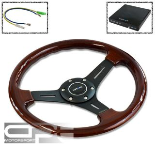 NRG 330MM DEEP DISH 6 HOLE WOOD GRAIN STEERING WHEEL 3 SPOKE BLACK