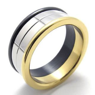 gold stainless steel rings in Mens Jewelry