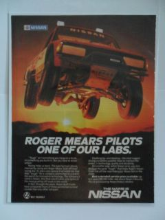 1985 Print Ad Nissan Datsun RACING Pickup Truck Roger Mears Pilots