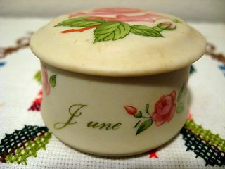 Lefton China Antique Ivory Trinket Box   JUNE   Hand Painted Roses