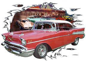 Red Chevy Bel Air c Custom Hot Rod Diner T Shirt 57, Muscle Car Tees