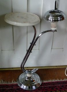 Art Deco smokers stand, chrome + bakelite, Retro. Vintage.
