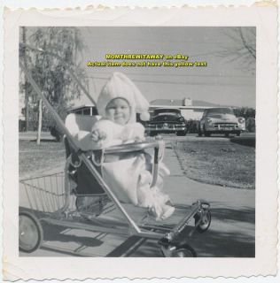OLD PHOTO Linda Jean Lamb Baby in Stroller Automobiles Cute Outfit Cap