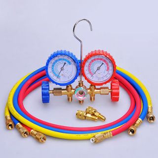 Valve Refrigerant Manifold Gauges 60 Hoses A/C Air HVAC Halogen Freon