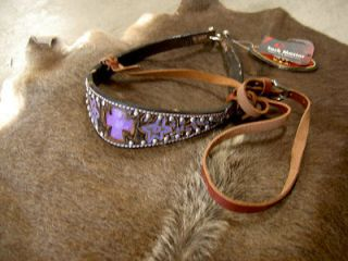 HORSE NOSEBAND BARREL RACING TIE DOWN STRAP CARVED PURPLE CROSS STUDS